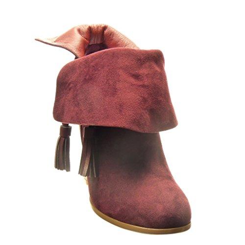 Angkorly - Scarpe da Moda Stivaletti - Scarponcini reversibile low boots donna frange pon pon nodo Tacco a blocco tacco alto 10 CM - soletta Foderato di Pelliccia - Rosso