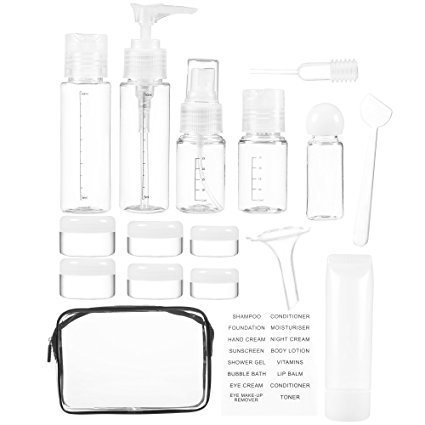 16 Pack Plastic Airline Travel Accessories Bottles Set - Holds Toiletries, Lotions, Liquids, Shampoos - Includes Spray Bottles, Pump Bottles, Squeeze Bottles, Jars, Insertion Tools & Travel Bag (Accessories Plastic Travel)