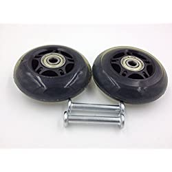 FF-life Luggage Suitcase / Inline Outdoor Skate Replacement Wheels with ABEC 636zz Bearings (2 wheels, 76*24)