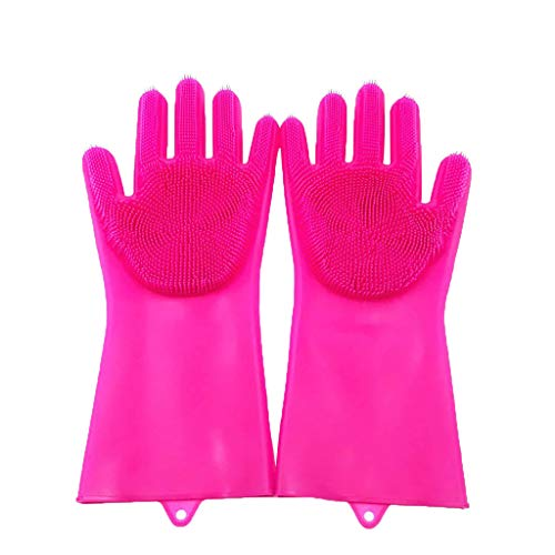 Samoii Kitchen Cleaning Tool Magic Reusable Silicone Gloves Cleaning Brush Scrubber Gloves Heat Resistant