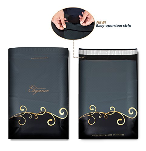 100 10X13 Designer Poly Mailers with Easy-open Tear Strip, Strong Glue, Anti-static Release Liner, 2.4 Mil Thickness - Envelopes Mailing Shipping Bags with Design (Black & - Usps Standard Shipping Is