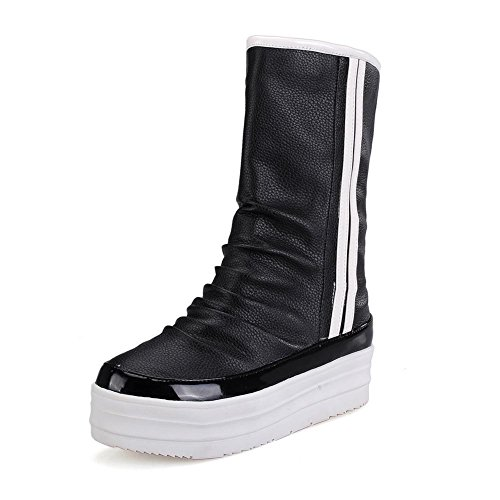 Allhqfashion Women's Pull On Kitten Heels Round Closed Toe Boots Black