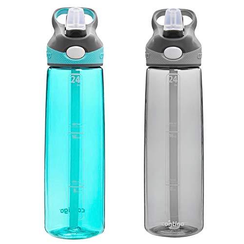 Contigo AUTOSPOUT Straw Addison Water Bottles, 24 oz, Ocean & Smoke, 2-Pack