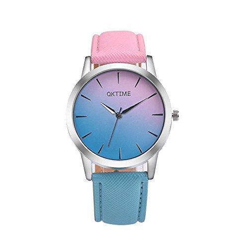 Women Ladies Luxury Analog Quartz Watches Casual Retro Rainbow Design Leather Band Wrist Watch for Sport Girls Women (E) from Saymi