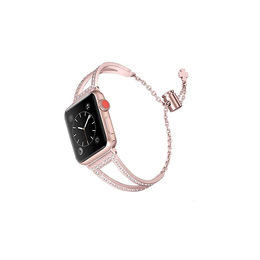 Secbolt Bling Bands Compatible Apple Watch Iwatch Band Series 4 44mm, Series 3/2/1 42mm, Women Stainless Steel Metal Jewelry Bracelet Bangle Wristband