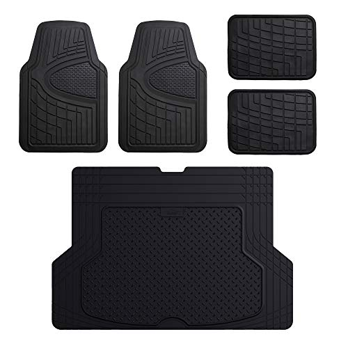 (FH Group F11311 Premium Tall Channel Rubber Floor Mats, Solid Black Color w. F16406 Premium Trimmable Black Rubber Cargo Mat)
