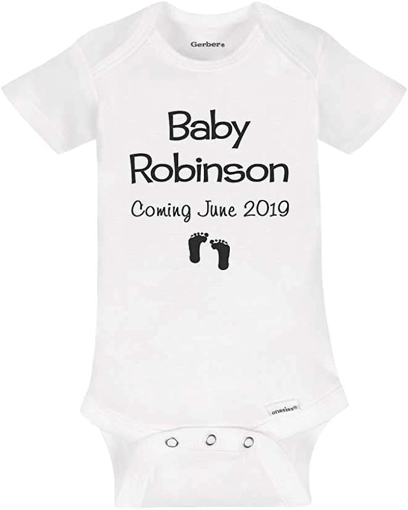 Personalised Baby Boy Bodysuit Birth Announcement Surname /& Due Date Baby Vest