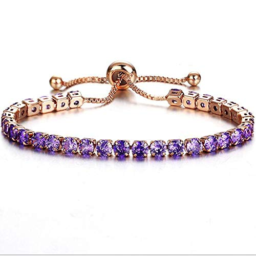 - Jude Jewelers Adjustable Size Women Eternity Cubic Zircon Stackable Chain Bracelet (Rose Gold Purple)