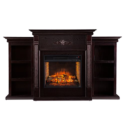 - Southern Enterprises AZ5458IF Tennyson Bookcase Infrared Fireplace, Espresso Finish