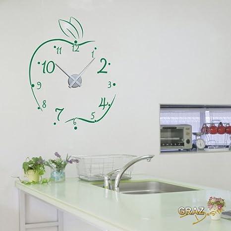Vinilo de pared: Decoración de pared con reloj manzana Para la cocina (reloj=