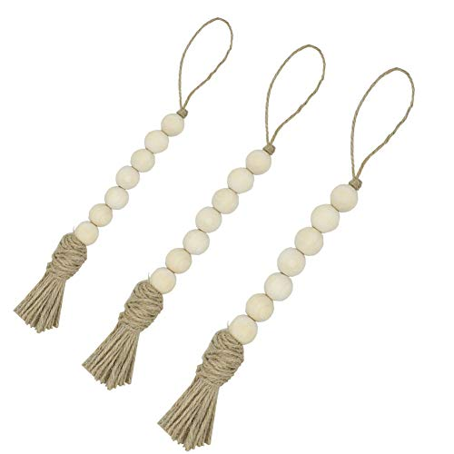 Bead 1 Large Wood - Yoeyzo Wood Bead Garland with Tassels Farmhouse Decorations Rustic Wall Hanging Decor Beads 3 Pcs (1#)