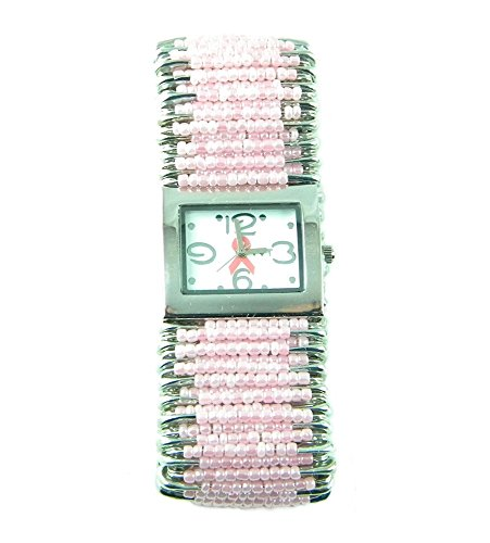 Safety Pin Beaded Watch - PlanetZia Breast Cancer Pink Ribbon Safety Pin Stretch Watch HM-PPR