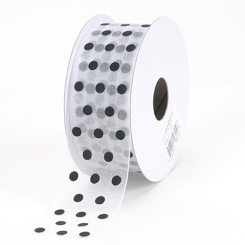 BBCrafts White with Black Dot Organza Ribbon Polka Dot 5/8 inch 25 Yards