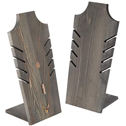 MyGift 14-Inch Vintage Gray Wood Plank-Style Necklace Busts, Set of 2 ()