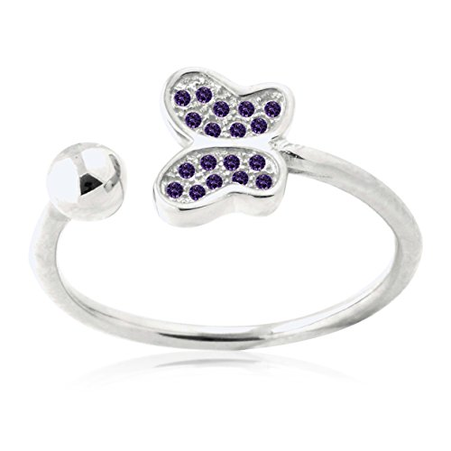 (UNICORNJ Sterling Silver 925 Butterfly Open Ring with Pave Purple Cubic Zirconia Adjustable)