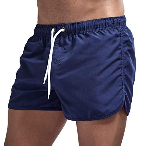 haoricu Men's Beach Shorts Quick Dry Surfing Swim Trunks Elastic Drawstring Shorts Multi-Color Optional Dark Blue