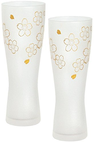 [SET of 2] Japanese Beer Glass 14oz (415ml) ''Premium Sakura'' Beer Head Forming Shape by Aderia Glass Japan S-6007 by Aderia Glass