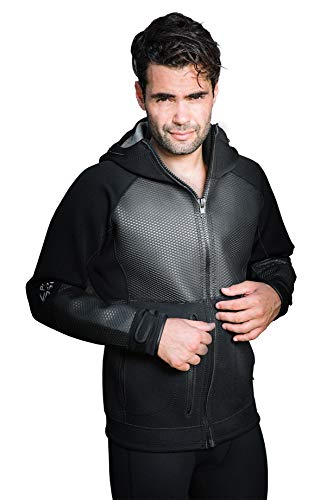 - Unisex Lux 2.5mm Neoprene Jacket Wetsuit Hoodie - Waterproof Wind Sailing Fishing Surf Jackets for Men and Women (Black, XL)