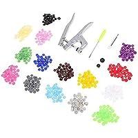 KU Syang Fastener Snap Pliers KAM Button+150Pcs T5 Plastic Resin Press Stud Cloth Metal Press Pliers Tools for T3 / T5…