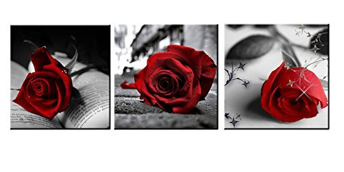Rose Artwork - Heronear Art - 3 Panel Red Rose Flower Gray Books Paintings on Canvas Artwork Picture Print Wall Art Framed Ready to Hang (12x12inch x3pcs)
