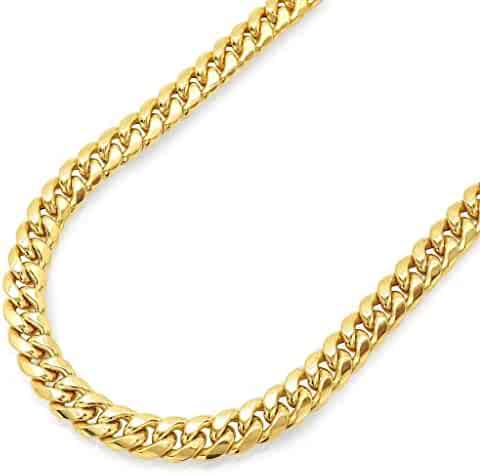 14K Yellow Gold Miami Cuban Link Chain Necklace with Box Lock Clasp 8.0MM Thick Miami Cuban Chain