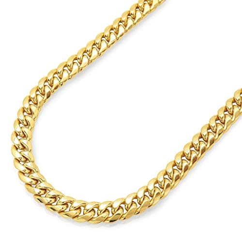 14K Yellow Gold Miami Cuban Link Chain Necklace with Box Lock Clasp 8.0MM Thick and Heavyweight (22.0) ()