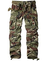 Women's Casual Loose Fit Plus Size Camouflage Multi Pockets Cargo Pants