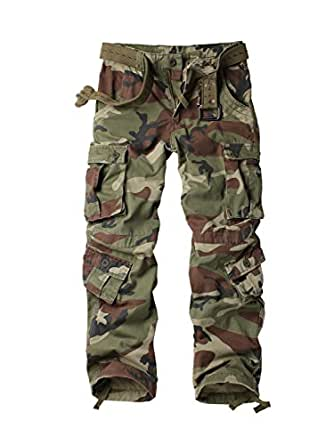 AKARMY Women's Casual Loose Fit Camouflage Multi Pockets ...