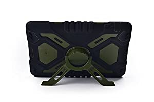 Pepkoo Ipad Mini 1& 2 Case Plastic Kid Proof Extreme Duty Dual Protective Back Cover with Kickstand and Sticker for Ipad Mini 1&2 - Rainproof Sandproof Dust-proof Shockproof (Blue/black) by pepkoo