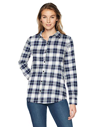 Amazon Essentials Women's Long-Sleeve Classic-Fit Lightweight Plaid Flannel Shirt Shirt, -white/blue plaid, Small ()