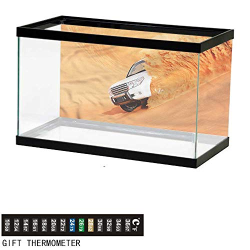 bybyhome Fish Tank Backdrop Desert,Pick Up Car with Sand,Aquarium Background,24