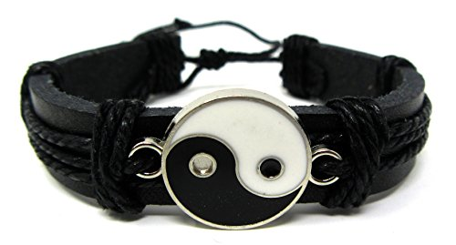Yin Yang Leather - Exotic & Trendy Jewelry, Books and More Yin Yang Leather Bracelet Yin Yang Bracelet Tai-chi Symbol Tao Bracelet Feng Shui (Black S1)