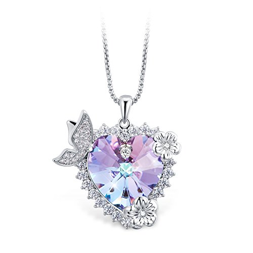 (T400 Jewelers Heart Necklace with Butterfly Wings Made with Swarovski Elements Crystal Gift for Her )