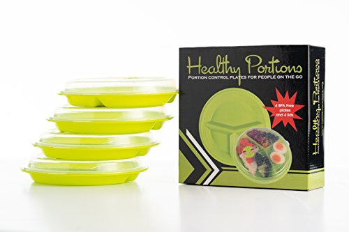 Healthy Portions -Portion Control Plates (4 Pack) – Great Design for Losing Weight with 3-Sections & Improved Leak-Proof Lids - Reusable, Microwavable, Steam Release Switch, Easy to Clean,| BPA free