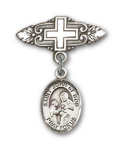 Icecarats Créatrice De Bijoux En Argent Sterling St. Jean De Dieu Broche De Badge Charme Avec Une Croix X 3/4
