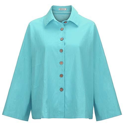 TUSANG Women Tees Button Tops Linen Cotton Fashion Long Sleeve Short T Shirt Ladies Blouse Slim Fit Casual Tunic(Blue,US-4/CN-S)