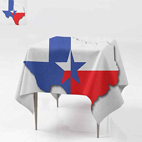 DUCKIL Oil-Proof and Leak-Proof Tablecloth Outline of The Texas Map American Southwest Austin Houston City Party W36 xL36 Vermilion White Violet Blue ()