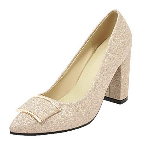 Gmxdb006050 Zapatos Gold Cerrada Lentejuela Alto Tacón Tacón Puntera De Mujeres Agoolar qpaAgP