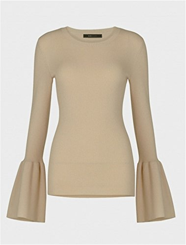 Arctic Cubic Round Neck Ribbed Rib Knit Slim Fit Bell Sleeve Sweater Jumper Top