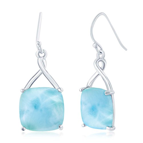 Sterling Silver High Polish Four-Prong Square Natural Larimar Dangle Earrings