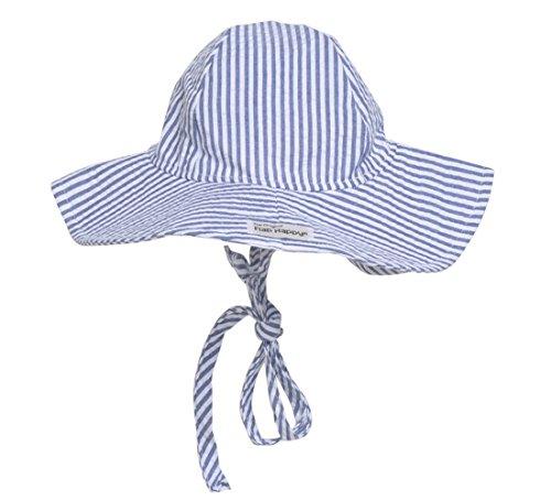 s' UPF 50+ Floppy Hat (X-Large, Chambray Seersucker) (Flap Happy Floppy Hat)