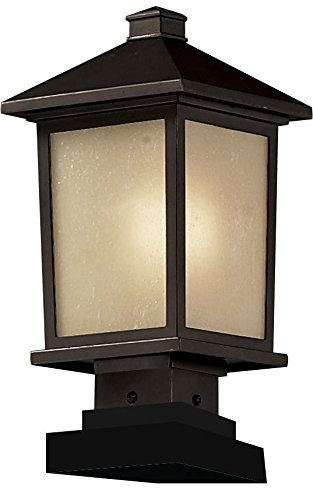 Z-Lite 537PHM-SQPM-ORB Oil Rubbed Bronze Holbrook 1 Light Outdoor Pier Mount Light with White Seedy - Co Holbrook And