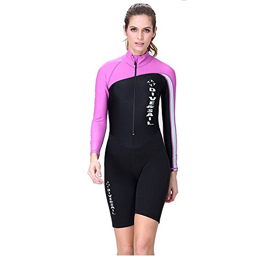 A Point Shorty Wetsuit Diving Suits Long-Sleeve Spring Suit Men/Women (M, women's purple)