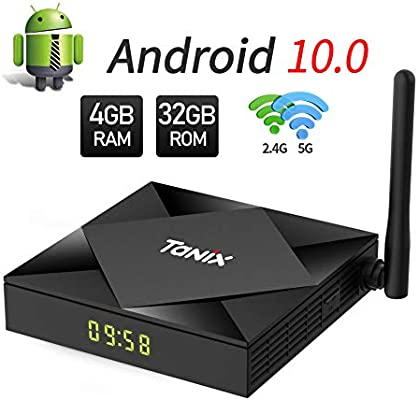 Android 10.0 TV Box, 4GB RAM 32GB ROM Android TV Box 10.0, H616 Quad Core Mali-G3 MP2 GPU 2.4GHz/5GHz Dual WiFi Smart Android Box 4K 3D Bluetooth 100M LAN Ethernet HDMI: Amazon.es: