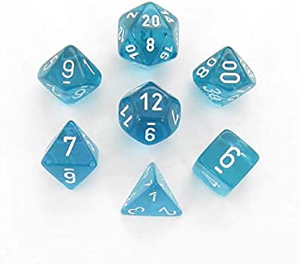 Chessex Translucent Polyhedral dice set blue with white numbers 7 die set