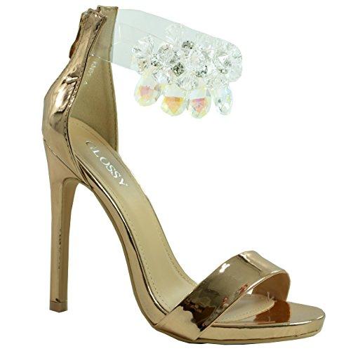 Cucu Fashion New Womens Ankle Strap Diamante Rhinestone Sandals Stiletto Heels Peep Toe Shoes Champagne / Gold OXLImzzd