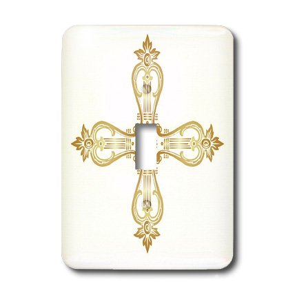 lsp_38400_1 TNMGraphics Faith - Golden Ornate Cross - Light Switch Covers - single toggle switch by 3dRose