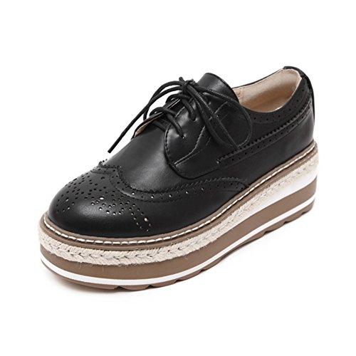 primavera y otoño viento de zapatos Inglaterra mujeres/Zapatos de plataforma de fondo grueso/Brock tallada zapatos A