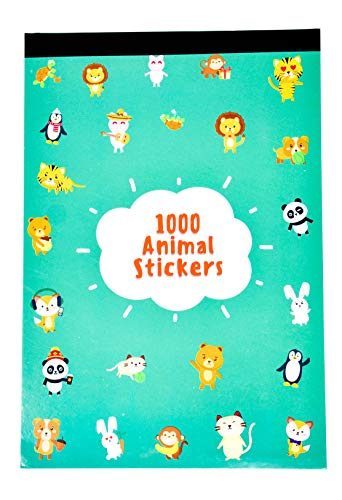 Fidelium Favors 1000 Animal Stickers for Kids, Teachers, Rewards Or Scrapbooking - Sticker Book Includes 25 Tear Away Sticker Sheets with Over 240 Unique Designs of Kawaii Cute Animal -