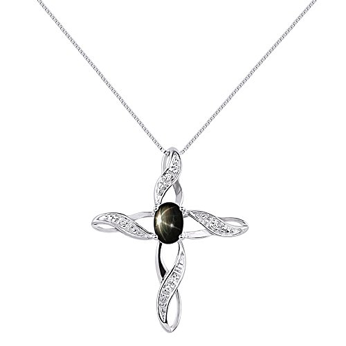Diamond & Black Star Sapphire Cross Pendant Necklace Set In Sterling Silver .925 with 18